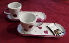 Cafe gourmand coeurs roses