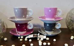 Ensemble 4 tasses rose gris