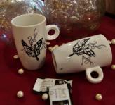 Tasses café papillon hautes